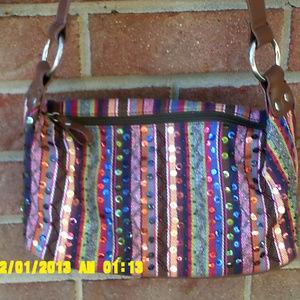 Striped sequined purse